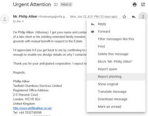 Reportar phishing en Gmail